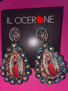 Turquoise Infused Rim Virgin Mary Earrings