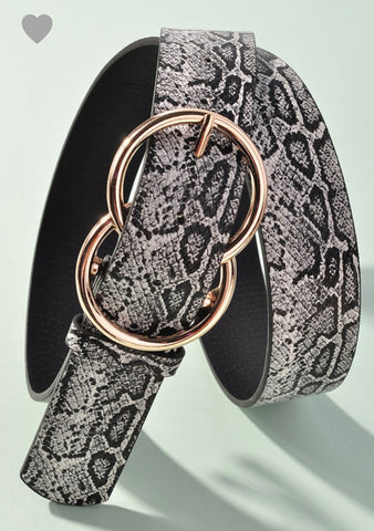 Black & White Snake Double Circle Belt