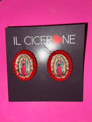 Red Virgin Mary Studs