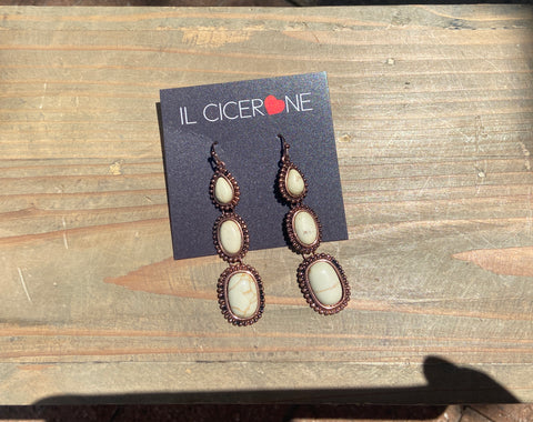 Three Layered White Stone Earrings