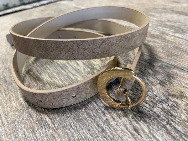 Tan Snakeskin Circle Buckle Belt