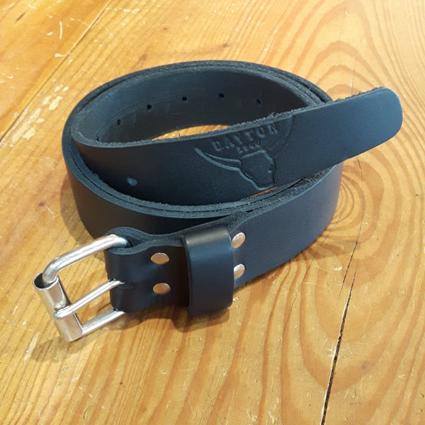 7-8oz Leather Belt with Buckle - Black