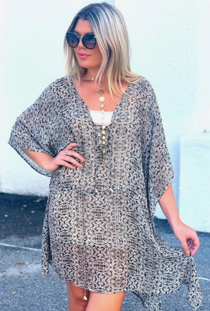 Medallion Poncho Cover Up