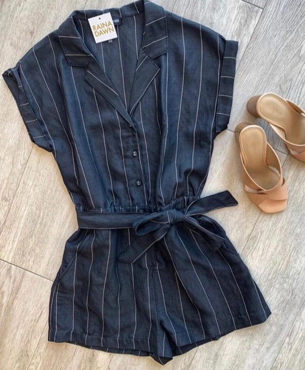 Collared Striped Romper