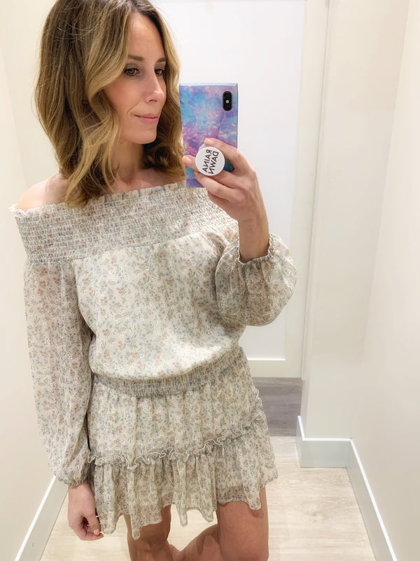 Fergie Floral Off the Shoulder Dress