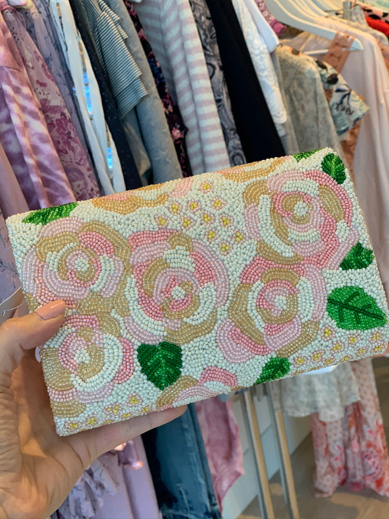 Rose Beaded Clutch