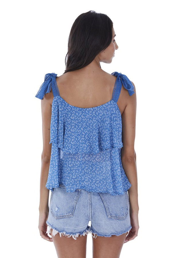 Floral Sapphire Tiered Tank