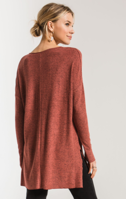 Marled Red Knit Tunic