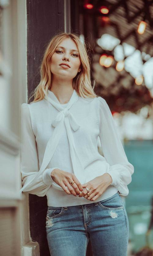 Agatha Neck Tie Cream Sweater