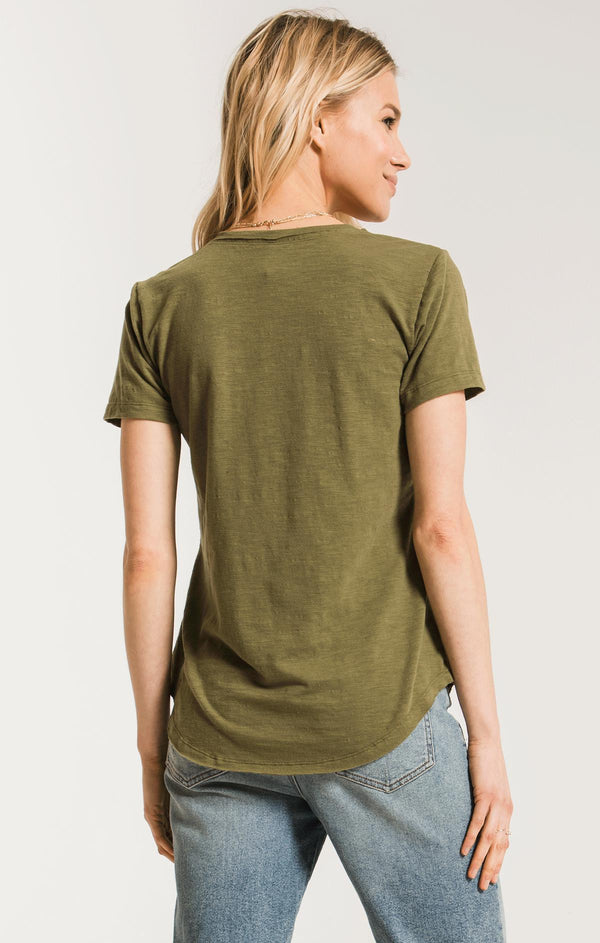 Airy Slub Olive Pocket Tee