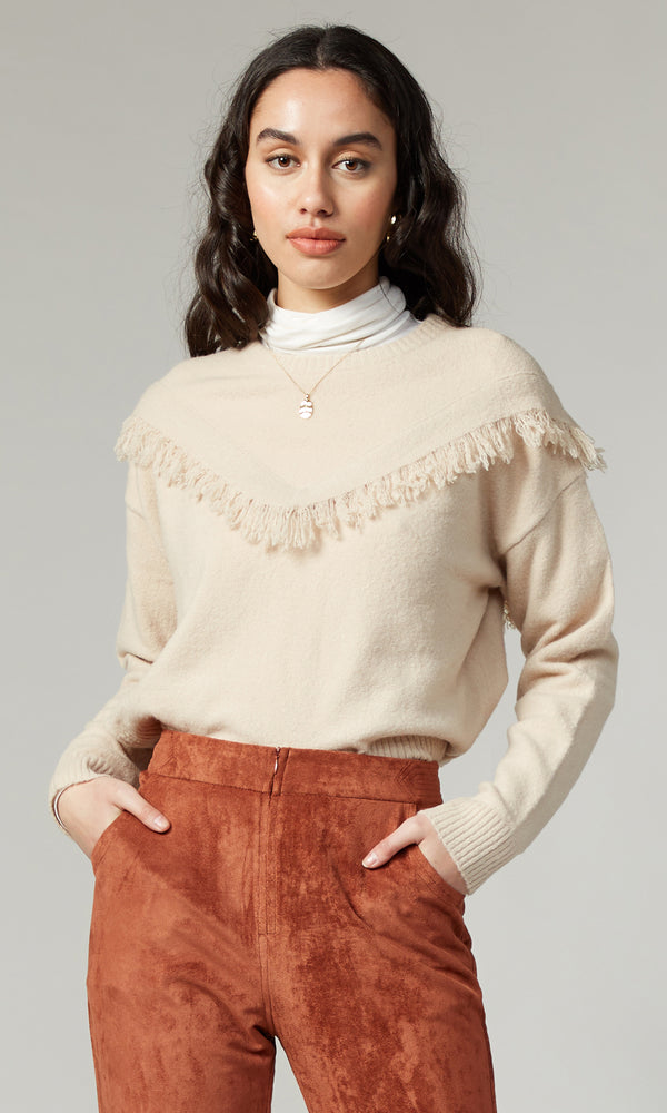 Arya Fringe Sweater Cream
