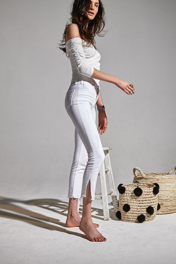 Bella H/R Skinny White Denim