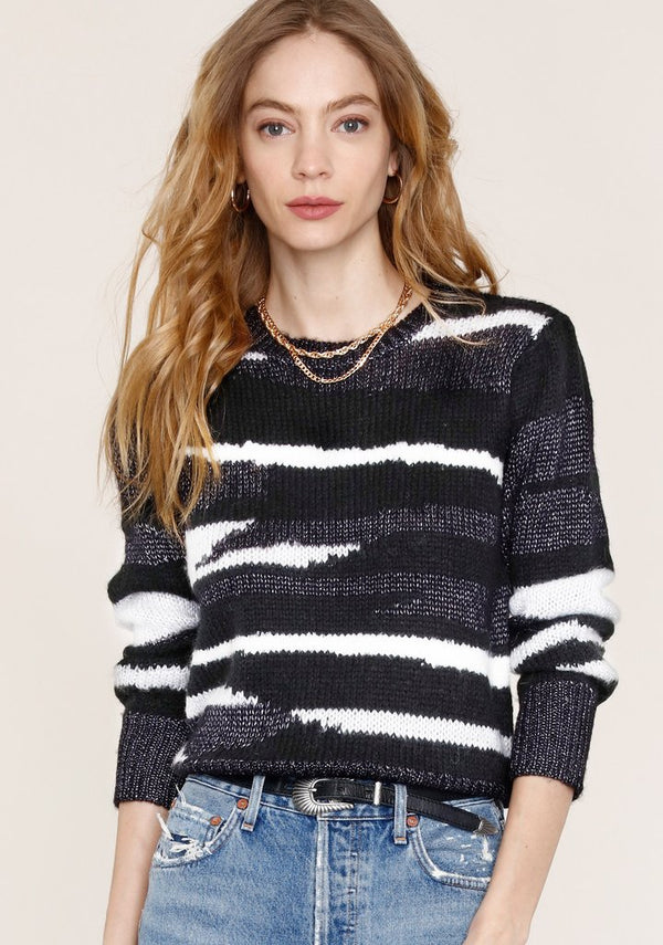 Bette Striped Sweater Black