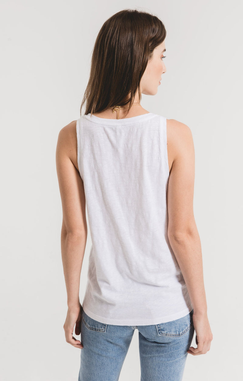 Cotton Slub White Scoop Tank