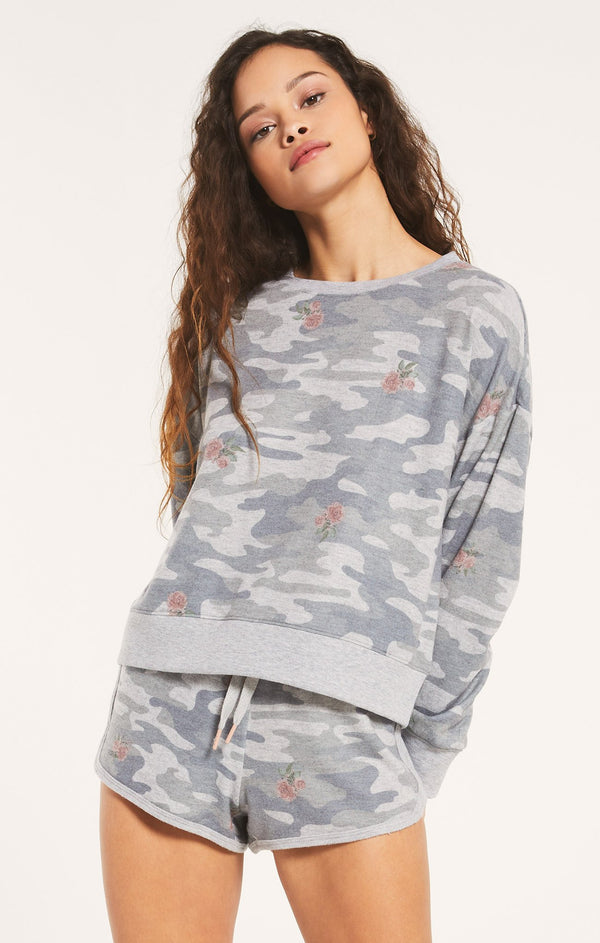 Ella Rose Camo L/S Grey