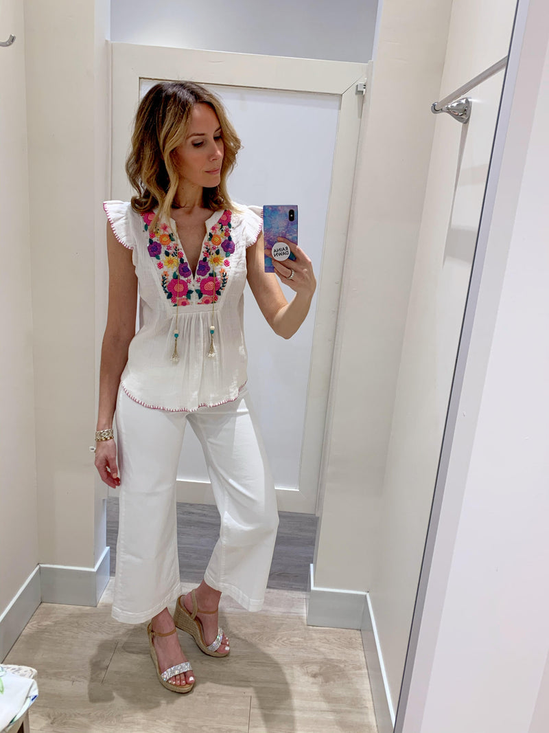 Flutter Embroidered Top