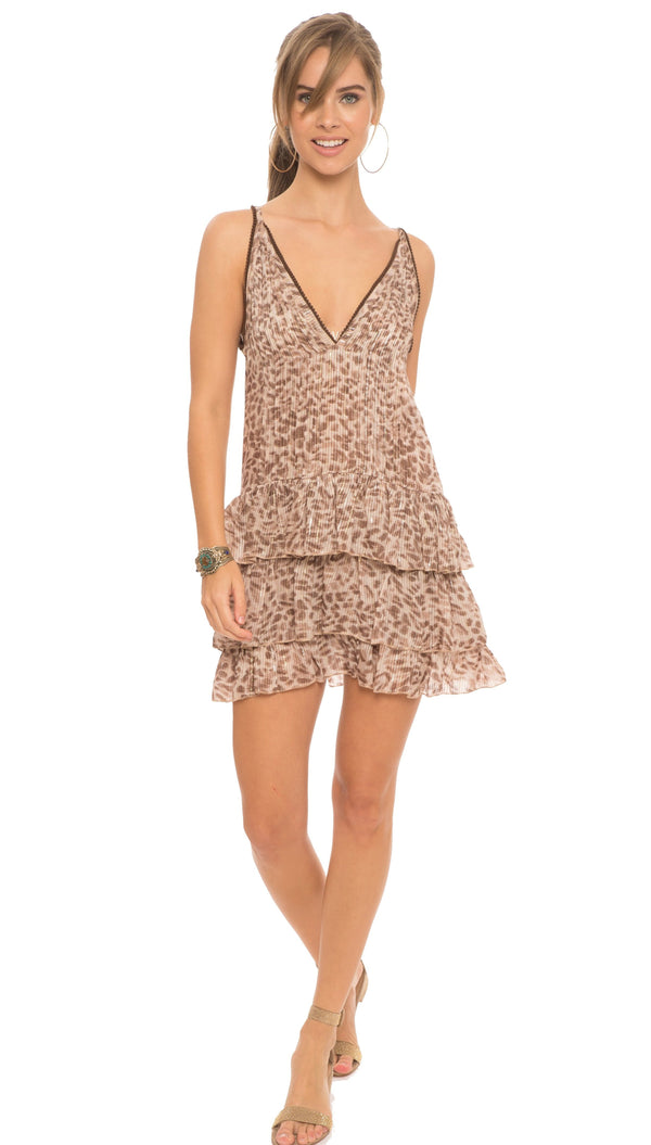 Gatha Ruffle Leopard Dress
