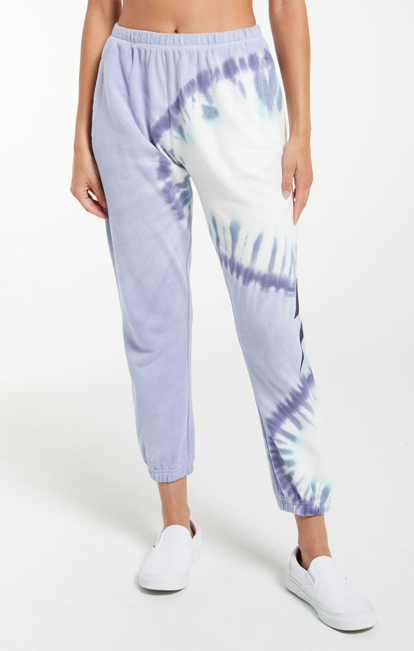 Sunburst Tie Dye Jogger Ice Blue