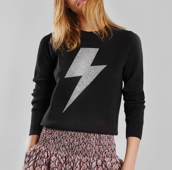 Lalique Black Lightning Bolt Sweater