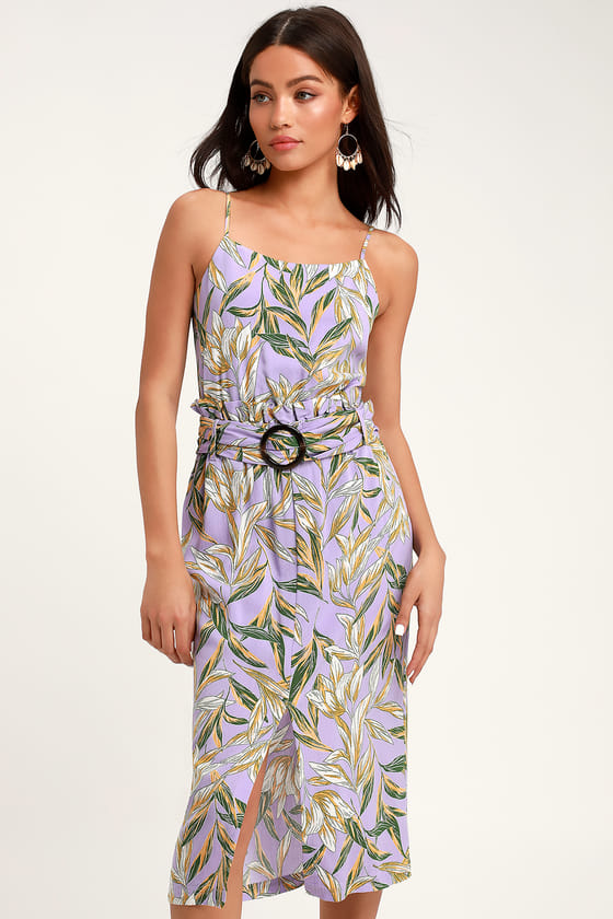 Paperbag Lavender Floral Dress