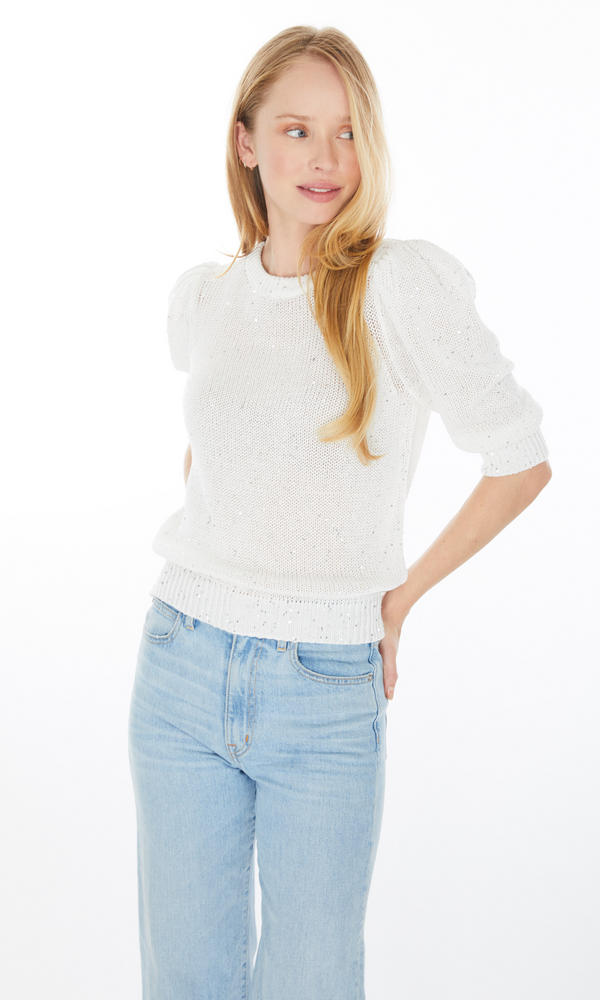 Mia Sequin Sweater White