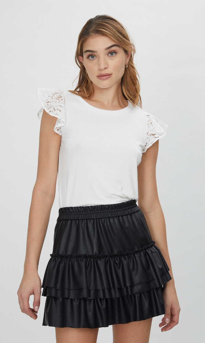 Prim Lace Ruffle Top White