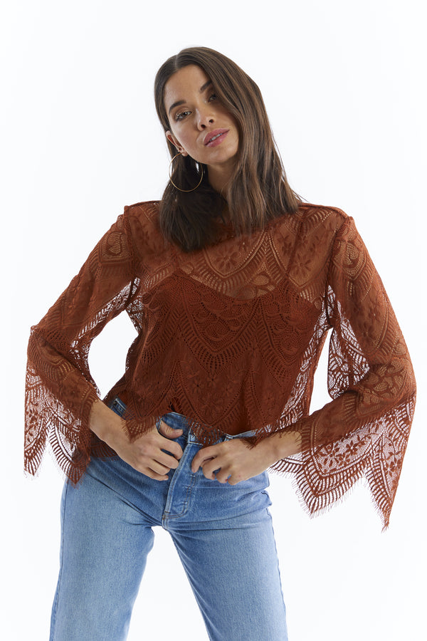 Lace Flare Slv Top Rust