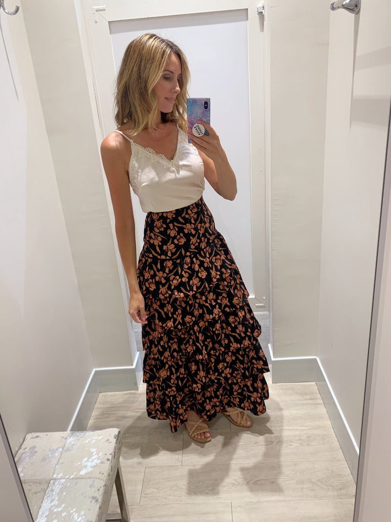 Floral Black Tiered Maxi Skirt