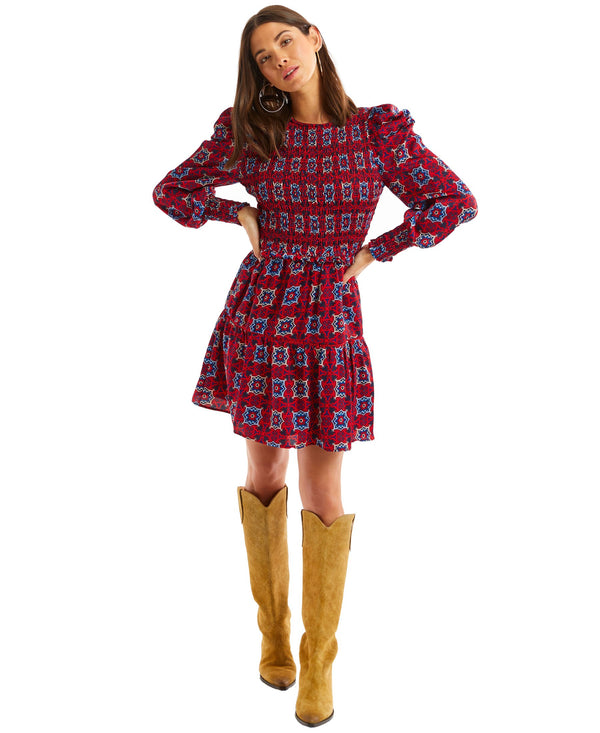 Smocked Kaleidoscope dress red print