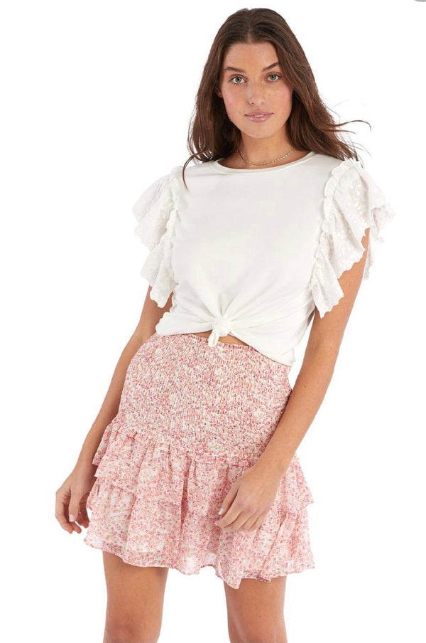 Floral Smocked Mini Skirt Pink Floral