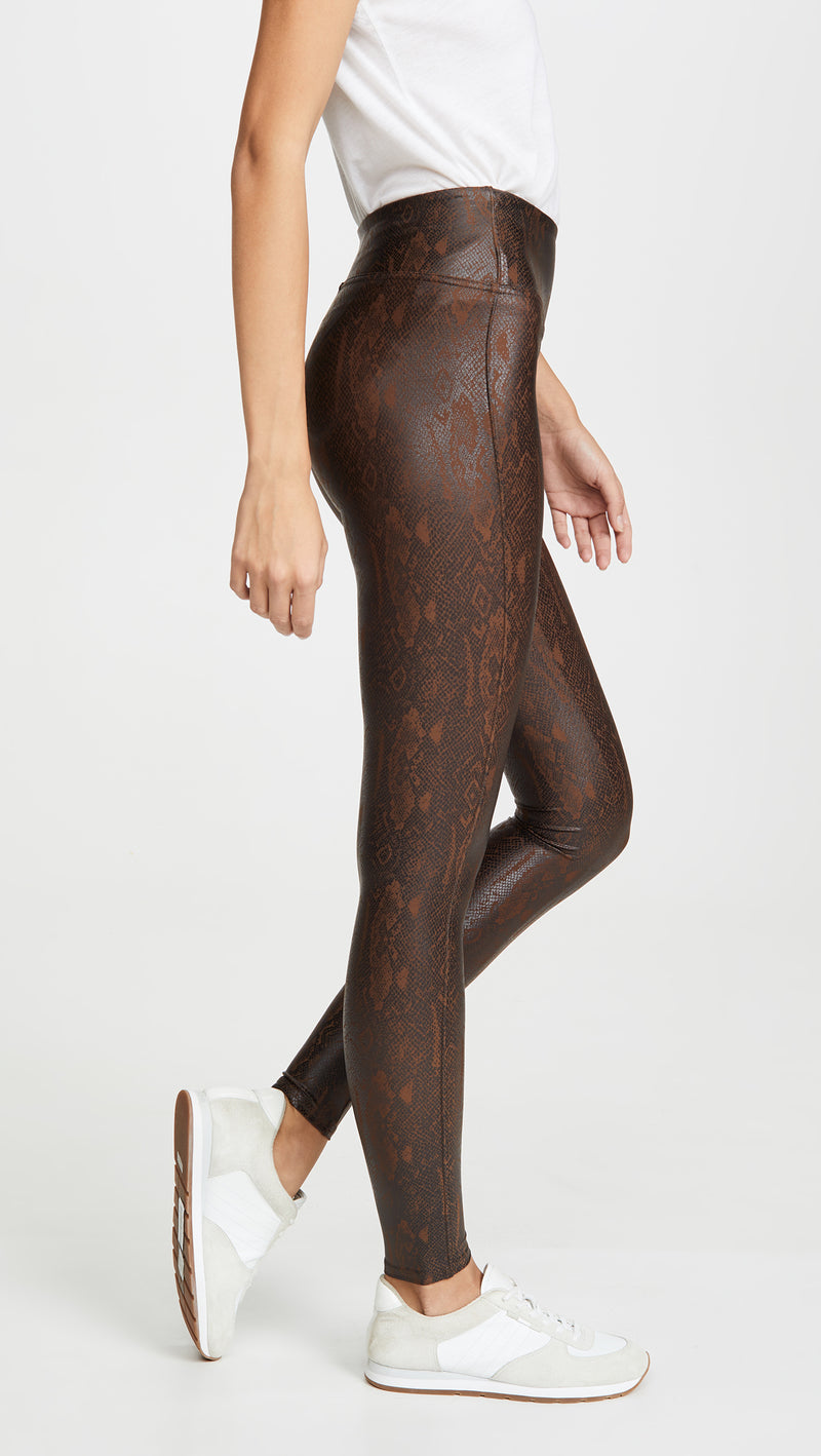 Brown Snakeskin Faux Leather Legging