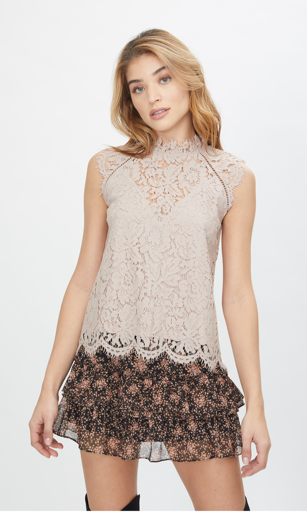 Stefi Lace Top Taupe