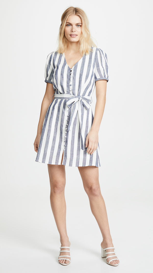 Button Up Striped Mini Dress