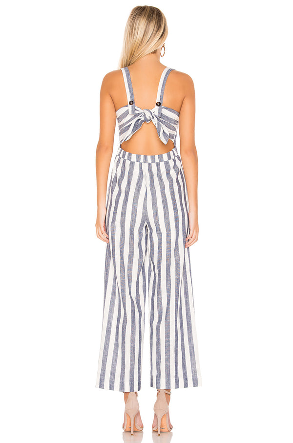 Navy Striped Tie Jumpsuit