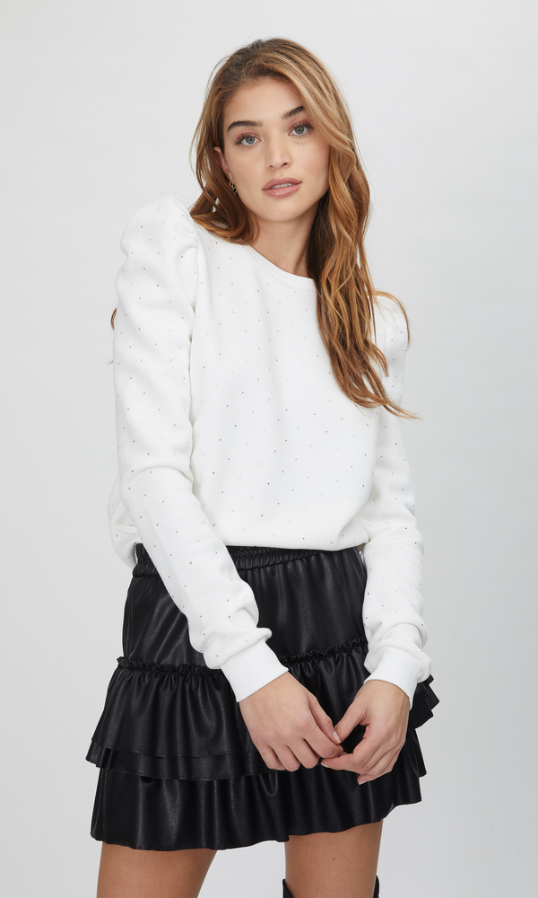 Tara Crystal Sweatshirt White