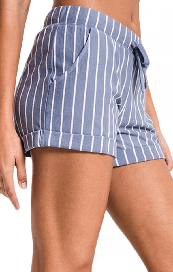 Pinstripe Boyfriend Short Blue