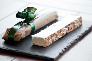 Soft torrone with caramelized taggiasca olives and piedemonts Hazelnuts 150gr.
