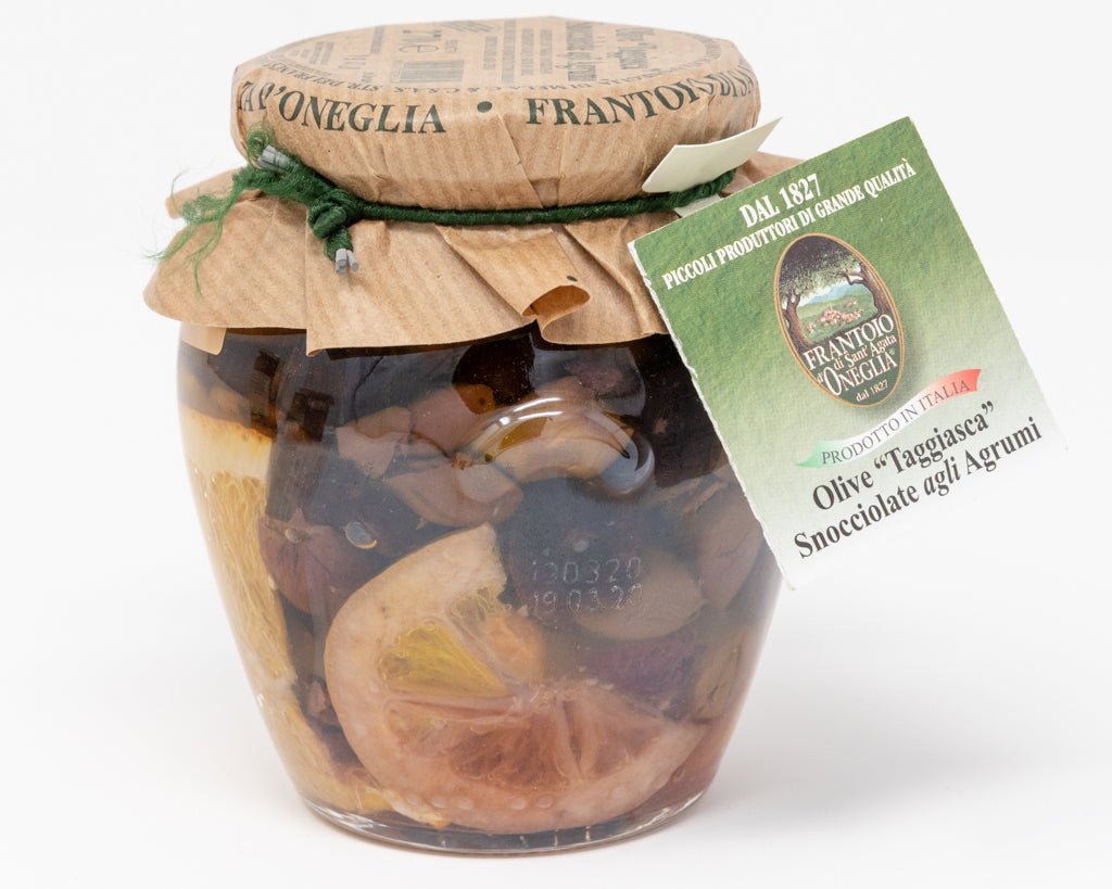 Stoned Taggiasche olives with citrus fruits in E.V.O . -  Sant'Agata d'Oneglia