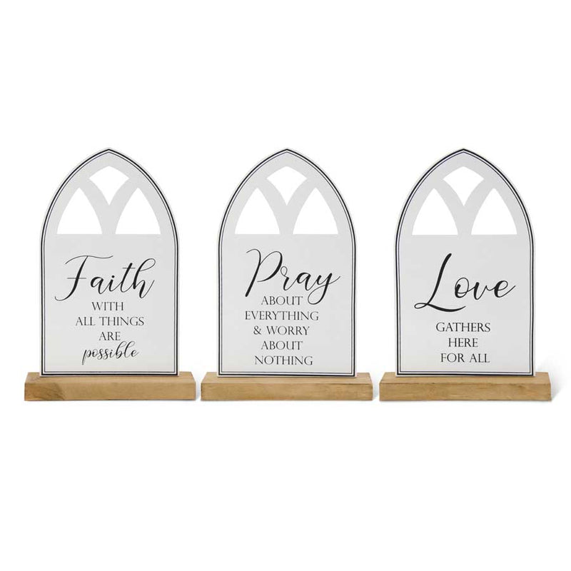 Assorted Black & White Enameled Inspirational Cathedral Window Tablet