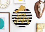 Black Stripe Big Happy Everything! Round Platter
