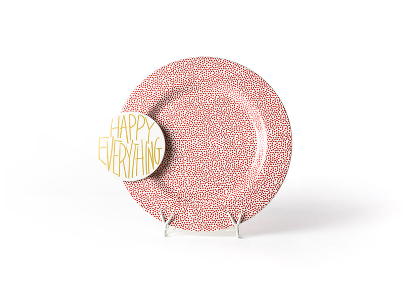 Red Small Dot Big Happy Everything! Round Platter
