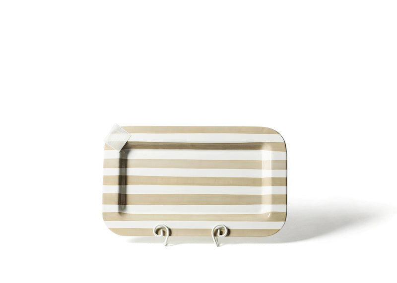 Neutral Stripe Mini Entertaining Rectangle Platter