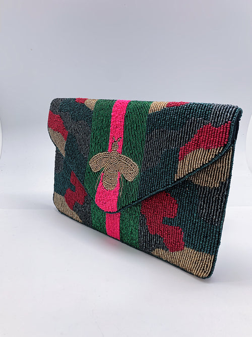 Bee You Multi Camo Striped Clutch