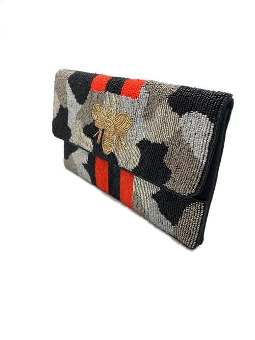Silver Black Camo Bee Clutch