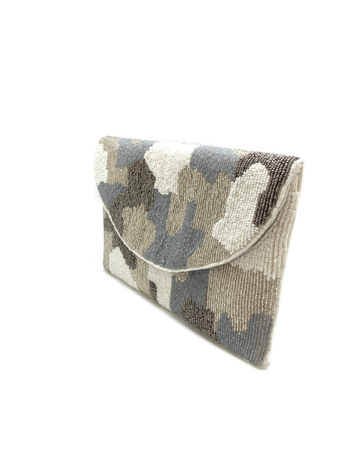 Grey Camo Beaded Clutch