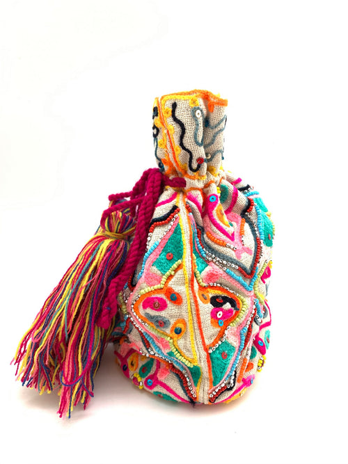 Multi-Colored Beaded Bucket Bag