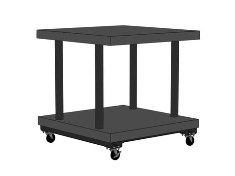 "36""W x 36""D x 37""H Two Level Solid Top Cart Tiered"