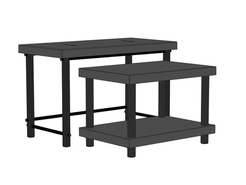 "48""W x 48""D x 30""H Nesting Tables, w/Shelf, Set of Two"