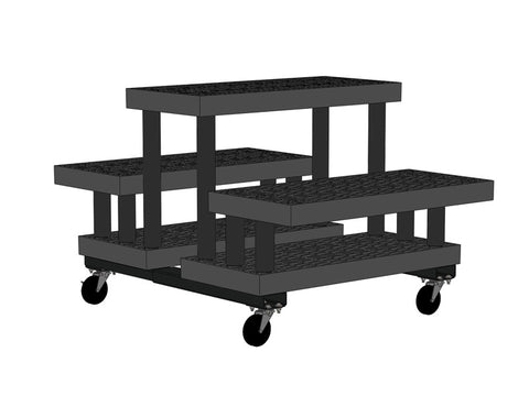 "36""W x 51""D x 30""H Three Step Double-Sided Cart"