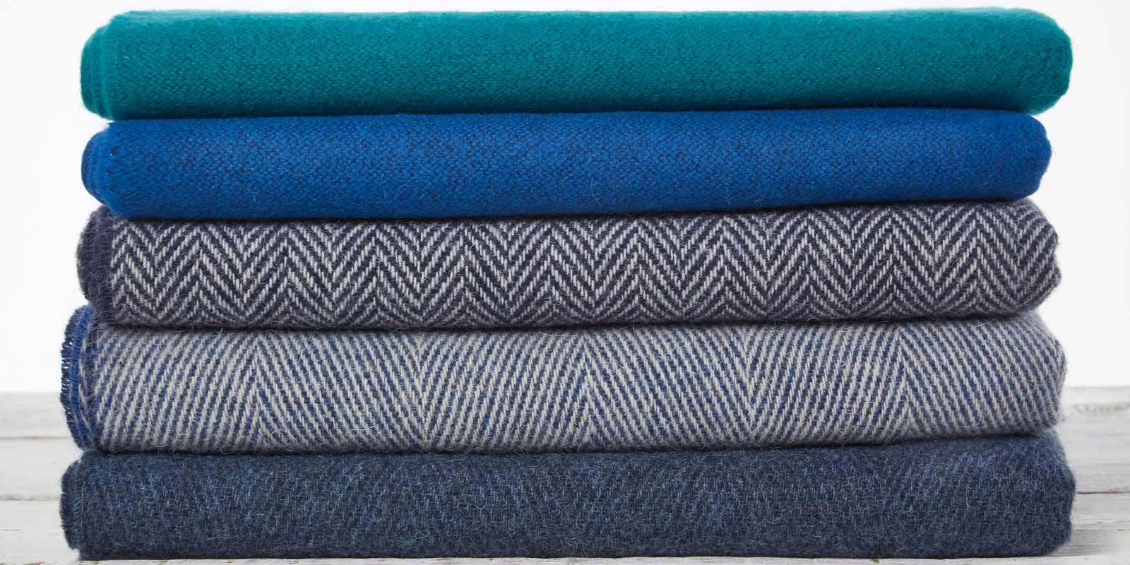 blue wool throws and blankets